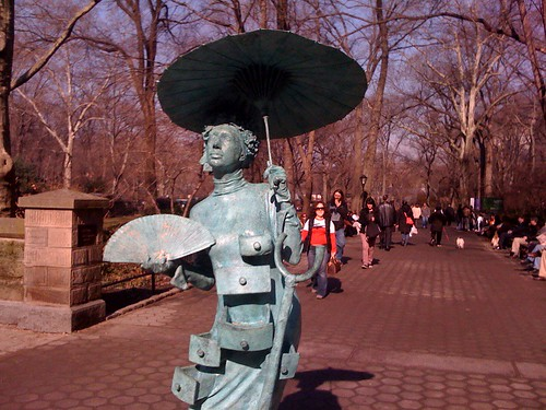 "One of Christian Jankowski's ""Living Sculptures"" (2006-7) in Central Park 