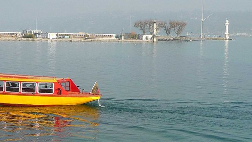 "Yellow (sub)Marine in Geneva ""B O A T ."" 