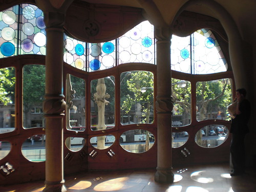 Look from the inside of casa Battló, modernist windows | by Oh-Barcelona.com