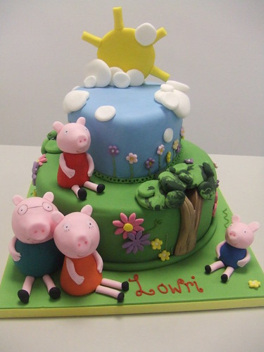 peppa pig cake template free - peppa pig by 2 tier peppa pig