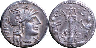 242/1 #0917-38 C.AVG Roma Columns with statue and two figures Denarius | by Ahala