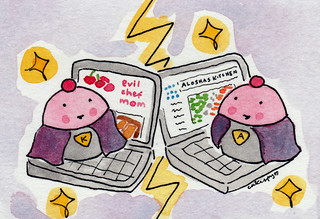 Custom order, Cuppie superheroes on laptops | by cakespy