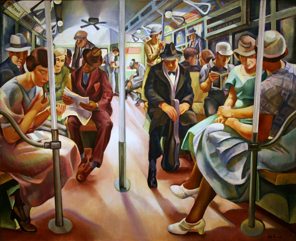 Paiting of people in subway car