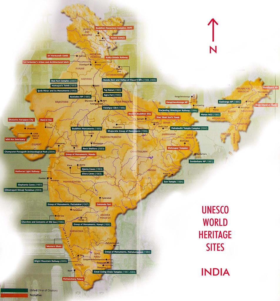 Map of unesco world heritage sites india see large size flickr map of unesco world heritage sites india by nevil zaveri thank u for gumiabroncs Choice Image