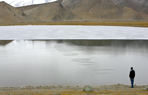 My Son Skipping Rocks on Karakul Lake | by road triper