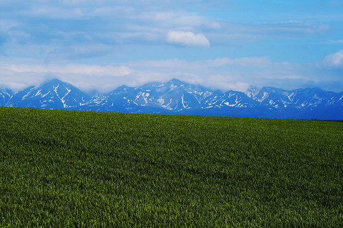 mountains over green field | by * Yumi *