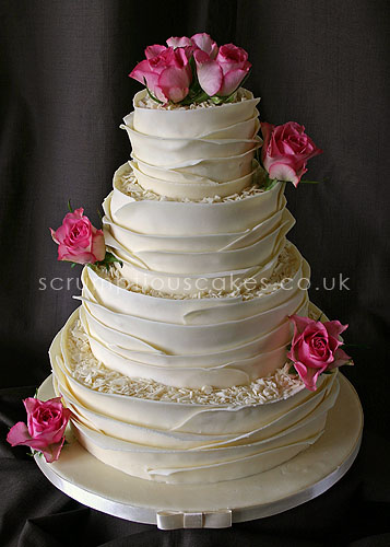 wedding cakes with ruffles and roses wedding cake white chocolate wrap amp fresh roses paula 26113