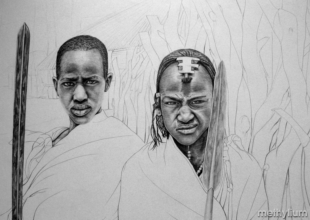 African warriors by methylium 2009 pencil drawing by methylium