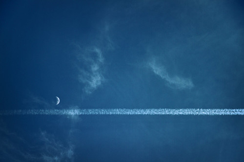 Moon and Contrail | by kirberich