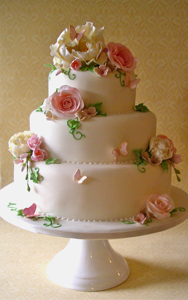 Ivory Pink Green Fleur Wedding Cake Lynette Horner Flickr