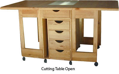 Folding Cutting Table With Ironing Board Open