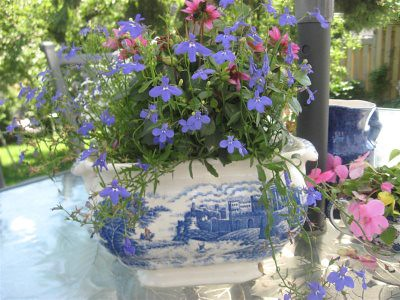 blue transferware tureen with flowers | by Knitty, Vintage and Rosy