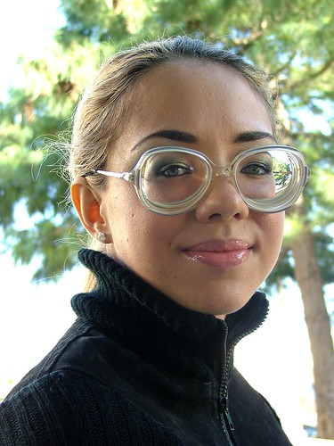 Sexy French Girl Wearing Big Strong Glasses  Turtle Neck -2342