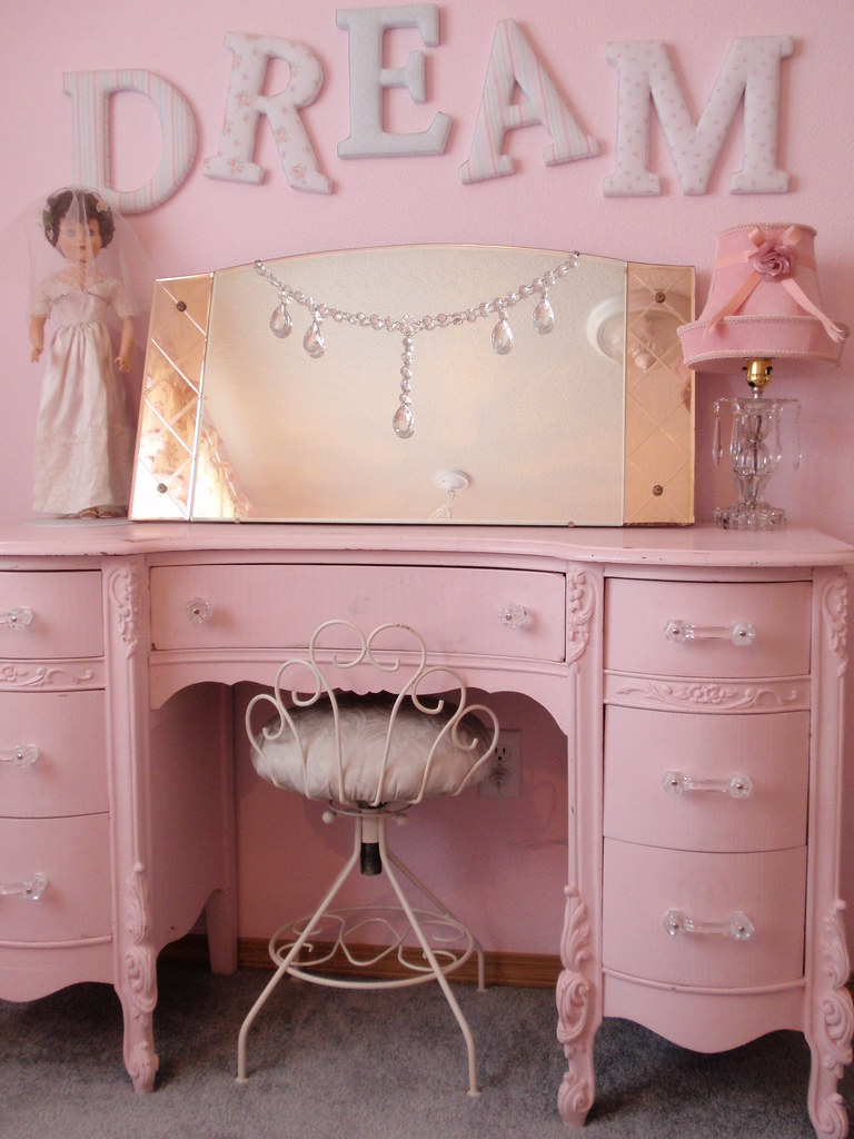 Simply Shabby Chic DREAM Letters Pink Vanity Dresser 2