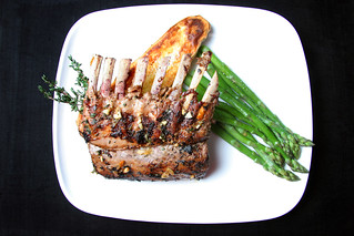 Thyme encrusted lemon garlic roasted Rack of Lamb with organic oven baked Sweet Potato and steamed Asparagus | by The 10 cent designer