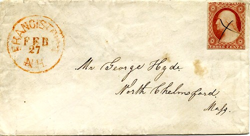 Letter from Francestown, New Hampshire (USA) to North Chelmsford, Massachusetts, February 1856 | by gbaku