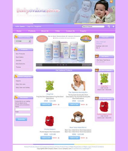 Baby online store ecommerce template baby online store for Yahoo ecommerce templates