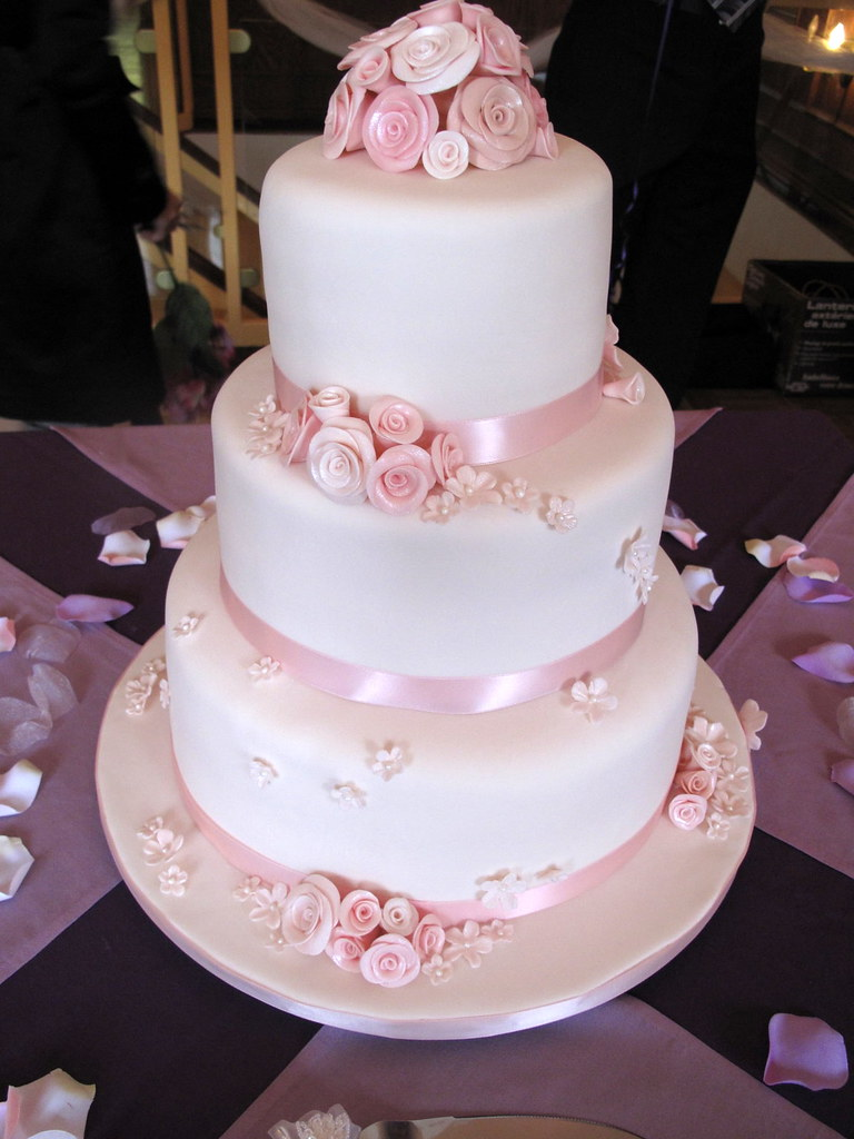 Pink roses wedding cake side view this is my first weddi flickr creativecupcakes pink roses wedding cake side view by creativecupcakes mightylinksfo