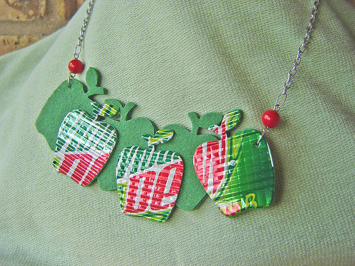Apple concept necklace made from recycled aluminum cans, felt, and coral beads ~ 1 of 5 photos | by Urban Woodswalker