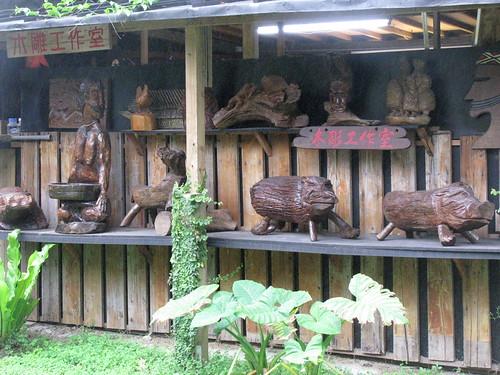 Carvings at buluowan taroko gorge taiwan wood