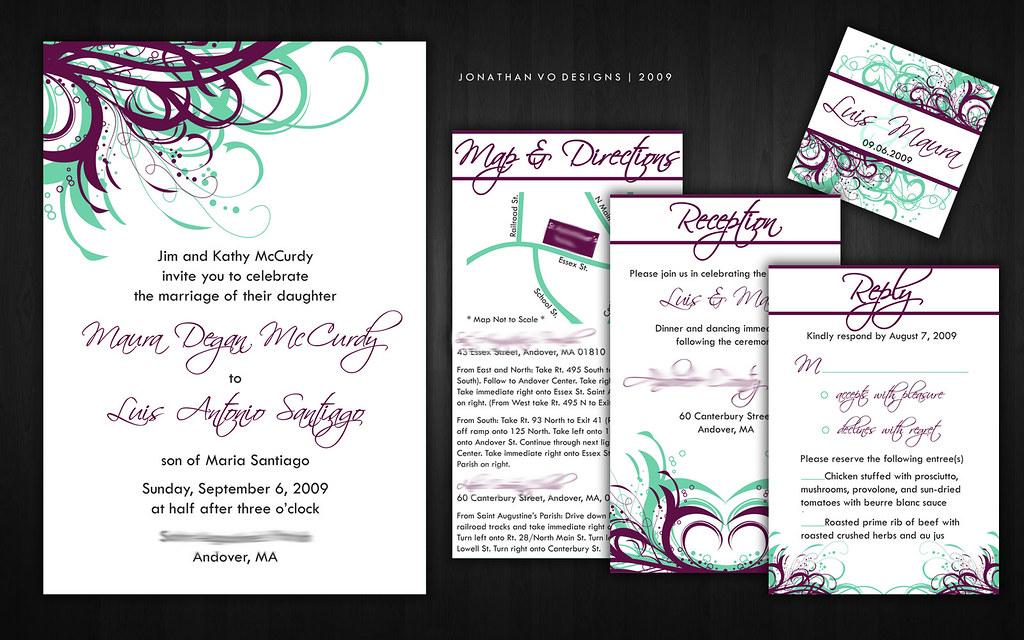 Purple (Plum) and Sea Green Wedding Invitations | Please con… | Flickr