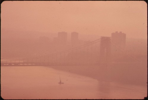 The George Washington Bridge in Heavy Smog. View toward the New Jersey Side of the Hudson River. | by The U.S. National Archives