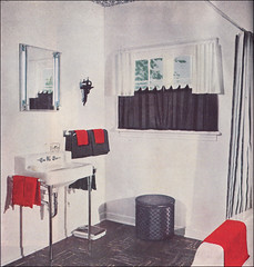 1952 red white black bath source better homes for Black white and red bathroom ideas