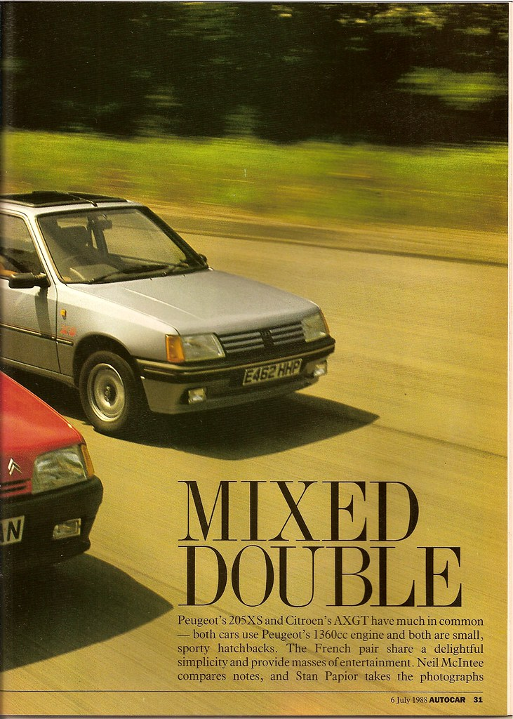 citroen ax gt vs peugeot 205 xs road test 1988 flickr. Black Bedroom Furniture Sets. Home Design Ideas