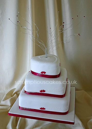 Wedding Cake (420) - 3 Tier Red Hearts & Piped Dots | by Scrumptious Cakes by Paula-Jane