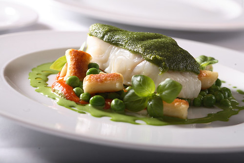 basil crusted sablefish with fresh peas and house-made gnocchi | by scout.magazine