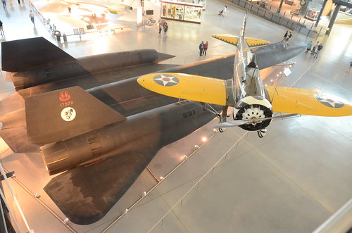 Steven F. Udvar-Hazy Center: View down onto SR-71 Blackbird & Boeing P-26A Peashooter | by Chris Devers