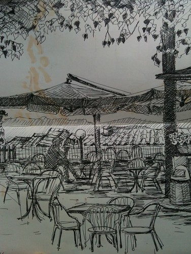 Italy: cafe in the main square, Poppi. Pen & ink (& yes, felt pen from the page behind) | by thejanehorton