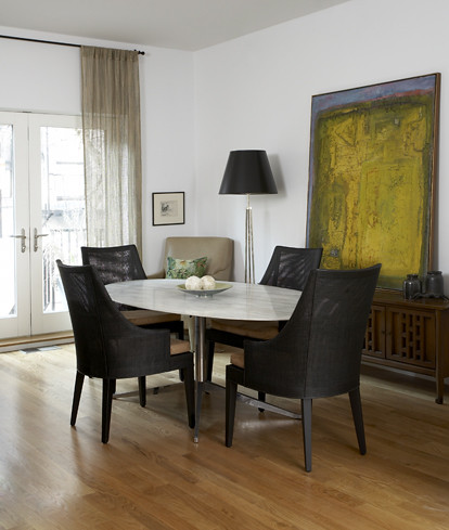 Mid Century Modern Mix Dining Room Knoll Table Abstract Art Hardwood