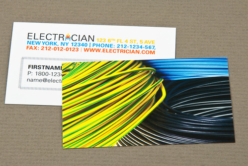 Electrician business card with coiled wires electrician for Electrician business card ideas