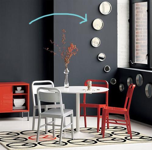 Black Red White Dining Room