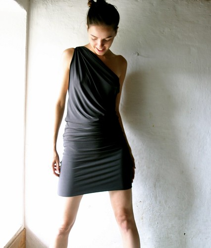 charcoal black drape dress | by larimeloom