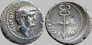 529/3 #9926-38 M.ANTON C.CAESAR Mark Antony Winged caduceus Denarius | by Ahala