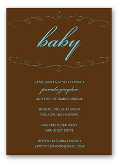 Baby Shower Invitation: Brown + Blue Modern Emboidery | by Red Stamp