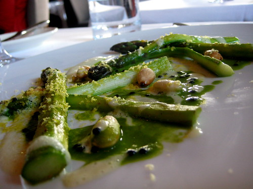 Asparagus with almonds, pistachios, caviar, and shaved preserved embryonic egg yolk | by Alexandra Moss