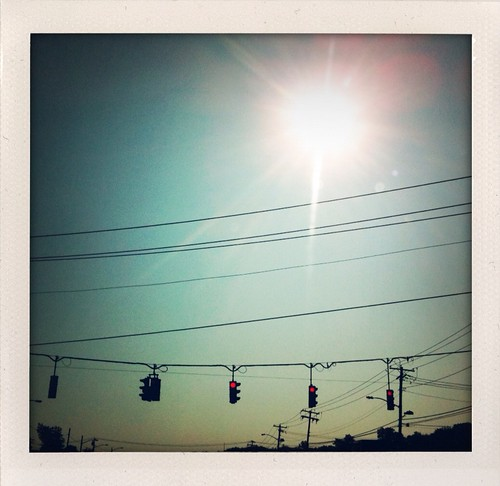 9 a.m., driving. Traffic lights like early morning stars. | by Anthony.Vitale