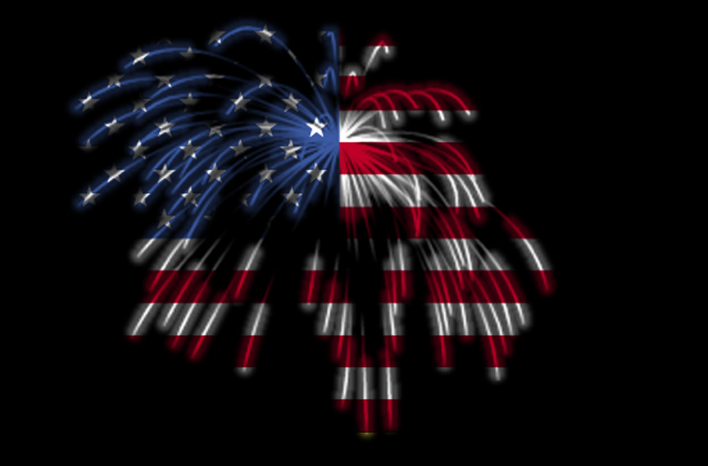 the american flag in fireworks by beverly pack