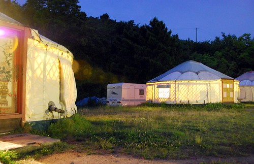 tsutsuji-so yurt village at night, naoshima | by hopemeng
