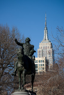 Statue of George Washington with view of Empire State Building, Union Square, New York City | by cphoffman42