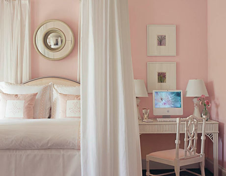 Pretty pink-and-white bedroom: White Dogwood by Sherwin-Williams | by SarahKaron