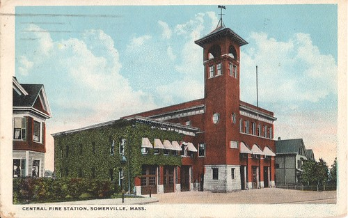 Central Fire Station, Somerville, Mass Postcard 1922 | by binarydreams