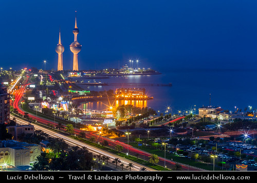 Kuwait - Kuwait Towers - Iconic Landmark at Dusk - Twilight - Blue Hour - Night | by © Lucie Debelkova / www.luciedebelkova.com