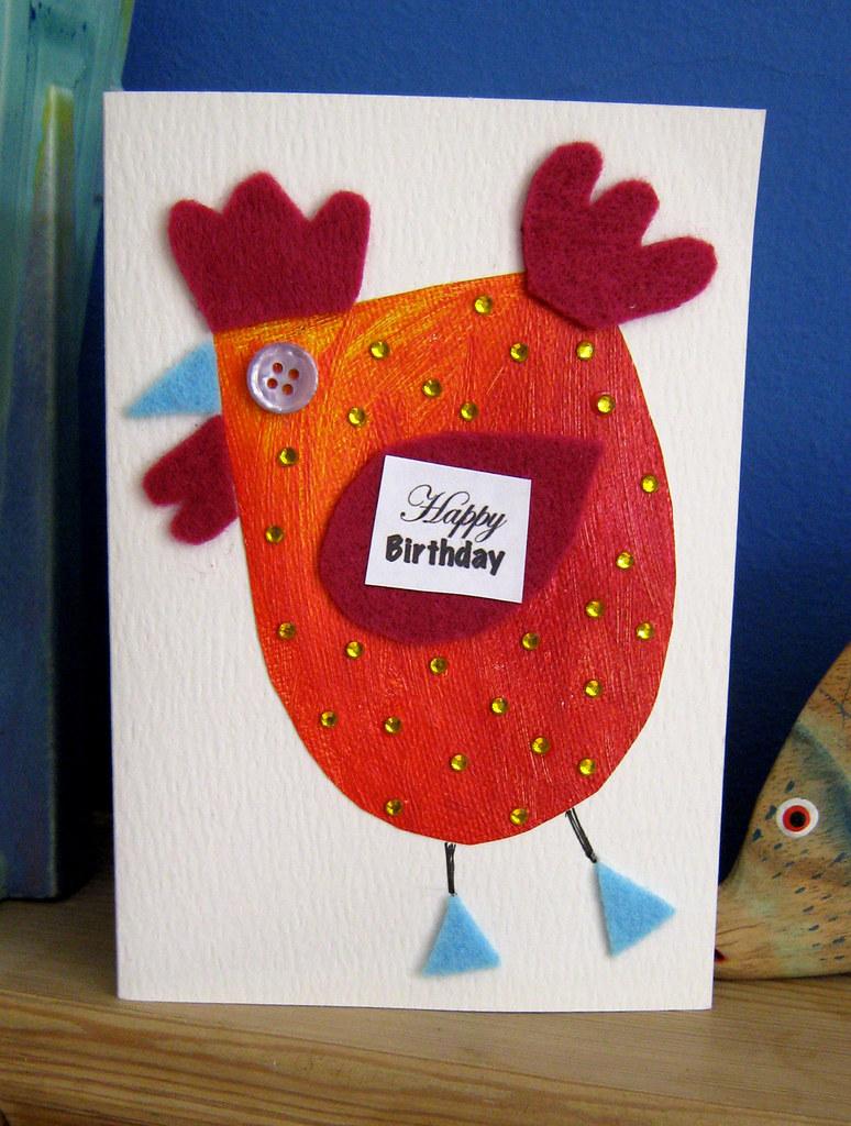 Birthday Chicken Handmade Greetings Card High Quality Wate Flickr
