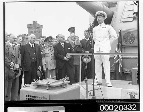 Captain John Collins of HMAS SYDNEY (II) making a speech at celebrations in Sydney after returning from the Mediterranean, February 10th 1941 | by Australian National Maritime Museum on The Commons
