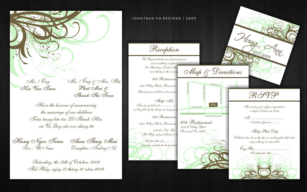 Green and Brown Vietnamese Wedding Invitations Please cont Flickr