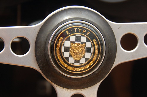 Jaguar E-Type 4.2 at Samuel's in Allston: E-Type badge on the steering wheel | by Chris Devers